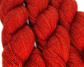 glitter sock yarn SANGUINE hand dyed sw merino nylon stellina fingering weight 3.5oz 435 yards