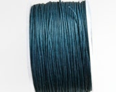 Blue Teal Waxed Cotton Cord, Teal Wax Cord, Blue Wax Thread (1mm) 10m- 11yards - S 40 086