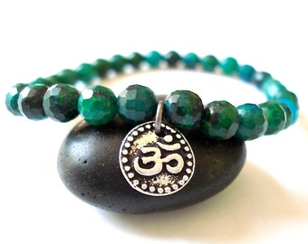 Om Yoga Bracelet, Turquoise Howlite, Silver Om Charm, Beaded Bracelet