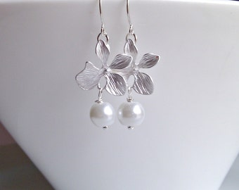 Pearl Earrings, Silver Orchid Earrings, British Seller UK,  Flower Earrings, Orchid Earrings, Gifts for Girls, Bridesmaid Gifts, For Mom