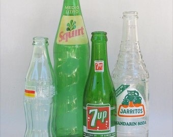 7 Up, Squirt Pop, Soda Bottle Collection, 7up, Squirt, Jarritos, Coca Cola, Green Glass, Props, CollectiblesFound Objects,
