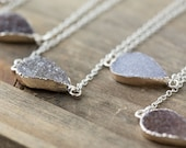 Silver Edged Druzy Necklace / Choose a Pendant / Teardrop Gemstone Pendant / Natural Stone Geode OOAK