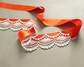 Bridal Sash, Satin Ribbon Lacy Fall Wedding Dress Belt, Orange Red Alternative Wedding