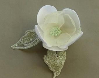 Bridal Hair Flower, Bridal Flower Hairpiece, Organza Pin, Fascinator, Corsage Pin Brooch, Bridal Flower Hairpiece