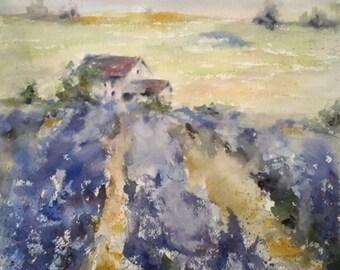 "Landscape, lavendar, farm, Provence, villa, Tuscany, red barn. purple. Smell the Lavender 2- original watercolor painting (12"" x 12"")."