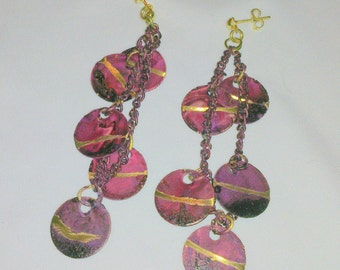Vintage 1980's New Old Stock Dangling Disc Earrings