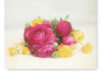 Flower photography, flower print, floral art, Ranunculus Print, Pink and Yellow Flower Print, nursery decor, art print, floral print