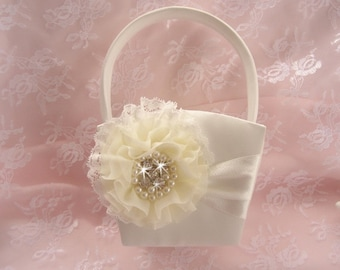 Flower Girl Basket   Beach Wedding Ivory and Cream Custom Colors too