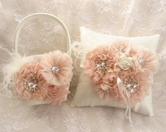 Blush Flower Girl Basket, 3D, Ring Bearer Pillow, Hand dyed Blush and Cream Flower Girl Basket Set Wedding Pillow Elegant and Classic