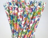 "WaterColor Paper Straws ""WildFlower"" Paper Drinking Straws…Bridal Shower Tea Party Birthday Weddings"