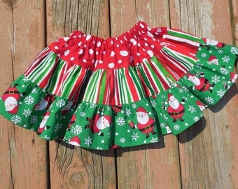 Girl's Toddlers Tiered Red and Green Christmas Skirt