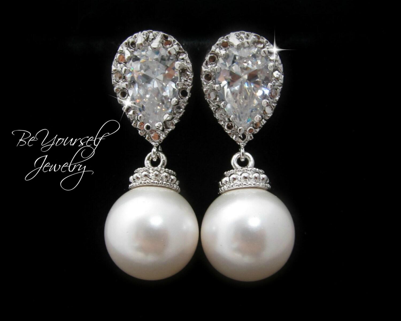 Wedding Earrings Pearl Bridal Earrings Bride Earrings Wedding Jewelry Swarovski Pearls Cubic Zirconia Earrings White Crystal Bridesmaid Gift