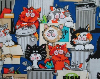 Cats In Garbage Cans Cotton Fabric Fat Quarter or Custom Listing