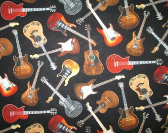 Classic Guitars Rock And Roll Black Cotton Fabric Fat Quarter or Custom Listing