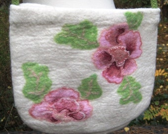 SALE!!!! FELTED BAG Needle and Wet Felted Wool Flower Pattern White Green Pink Pastel