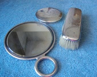 Antique Gorham 3 piece Sterling Silver Dresser Vanity Set Monogrammed