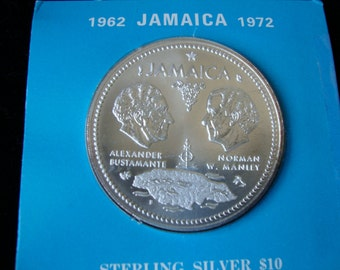 Jamaican coin, Jamaican Sterlng Silver 10 Dollar,  in Honor of 10th Anniversary Of Independence 1972