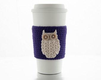 Crochet Coffee Cozy, purple coffee sleeve, natural beige owl, aubergine, cup sleeve