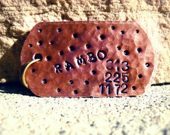 The Rambo (#106) - Military Style Design- Unique Pet ID Tag Copper Square Large Dogs