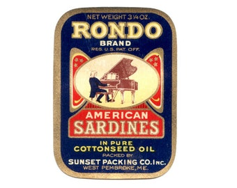 Two (2) 1920 Rondo American Sardines Label
