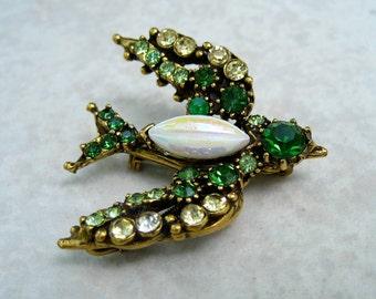 Vintage Florenza Rhinestone Bird Brooch Trembler Green Citrine