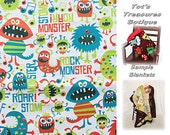 Monster Rock 'n Roll Baby Blanket....Flannel and Minky with Optional Satin Ruffle