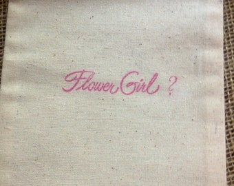 Will you be my Flower Girl ? Gift 1 Black 5x6 Muslin Bags Bridal Party Question Jewelry Make up Purple Blue Green