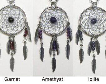 Dream Catcher Garnet, Amethyst, Iolite Steel Dreamcatcher Necklace with Feathers