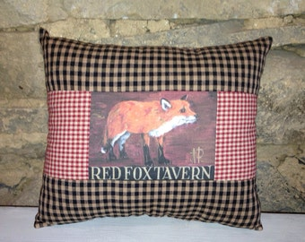 Red Fox Tavern quilted accent pillow