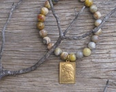 I Am the Light Unique Genuine Crazy Lace Agate Stretch Bead Bracelet with Vintage Brass Jesus Christ Religious Medal