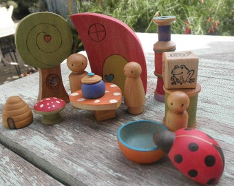 WOOD TOYS Play Set-Mega Accessories-Peg Doll Family-Tree-Habitat-Pretend Play- Waldorf Inspired