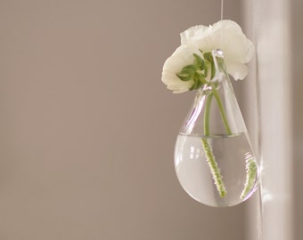 Glass Wall Vase, Hand Blown Glass Art, Clear Glass Vase, Hanging Wall Decor