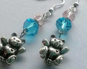 Silver Teddy Bear Earrings on Sterling