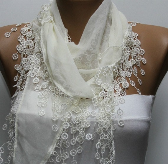 Creamy  White Scarf -  Cowl Scarf  bridesmaid gift  Shawl Bridal Gift Ideas For Her Women Fashion Accessory