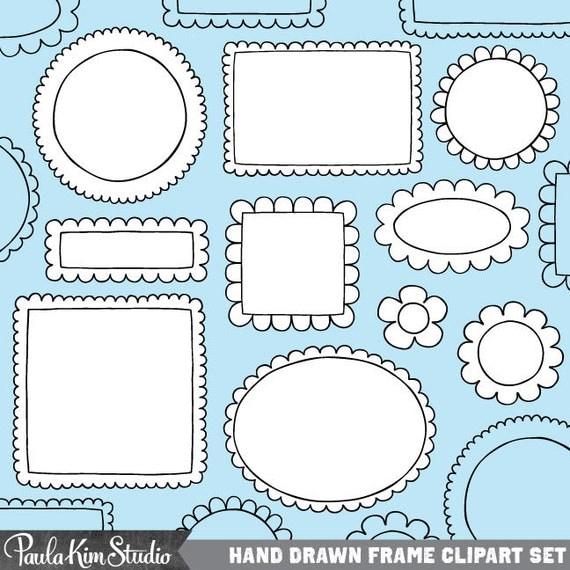 Digital Frames and Borders, Doodle Frame Clip Art, Instant Download Images