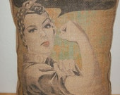 We Can Do It  Burlap Pillow,  Rosie Riveter Style,  Encouragement, INSERT INCLUDED