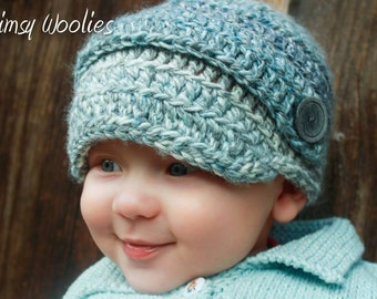 Crochet Newsboy Pattern: 'Perfect Two DK' Baby Crochet Hat