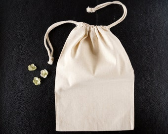Do-It-Yourself Blank Natural Muslin Drawstring Bag (8 x 12 inches) - Customize with paint, stamps and ink, and more