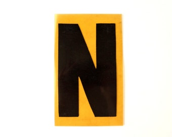 "Vintage Industrial Marquee Sign Letter ""N"", Black on Yellow Flexible Plastic (7 inches tall) - Industrial Decor, Art Assemblage Supply"
