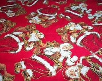 Santa Clause Christmas Fabric Lots Of Metallic Gold Ho Ho Ho Gifts New BTFQ