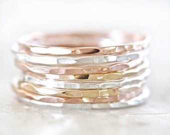 Stacking Rings / Rose Gold Stacking Ring Set / Stacking Rings Gold / Stacking Rings Silver / Ring Set / Rose Gold Stacking