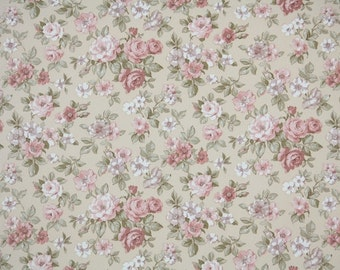 Vintage Wallpaper by the Yard 70s Retro Wallpaper - 1970s Pink Roses Mini Floral on Tan