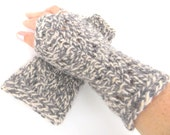 """Mittens/wristwarmers """"Martha"""", organic wool, eco friendly, knitted, lace, dark gray/grey, charcoal, anthracite, white, OOAK, one of a kind"""