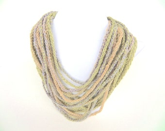 """Infinity necklace/Infinity scarf """"Lino"""", pure linen, handspun, plant dyed, pastel green, peach, lilac, length 12 meters, OOAK, one of a kind"""
