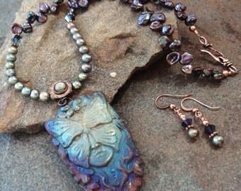 Handmade Necklace Set, Raku Butterfly Mask Pendant, Freshwater Pearls, Copper, Beautiful