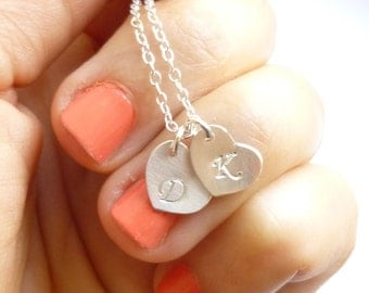 Two Sterling Silver Initials Necklace -- Personalized Handstamped -- Your Choice of Initials