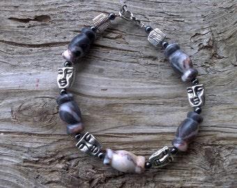 Marble,metal,hematite beaded bracelet 8 1/2 inch