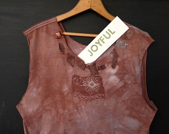 Shabby tee spring party dark brown plummy rose hand dyed  lace tattered boho applique gypsy prairie girl tee tunic shirt