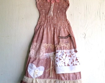 bridesmaid flower girl shabby CUSTOM made to order hand dyed soft brown Prairie Girl  Ecru Lace gypsy boho dress
