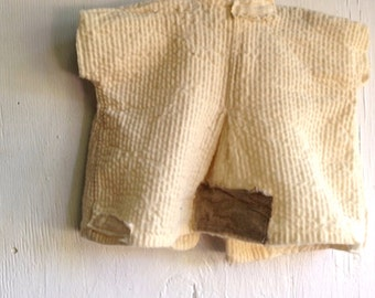 shabby worn patched prairie baby decor cottage buttery soft yellow off white vintage linen baby  decor nursery chic rustic  jacket